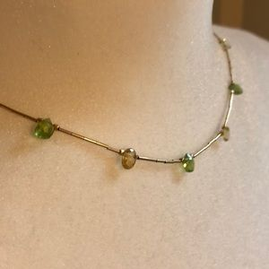 Peridot and citrine gold necklace